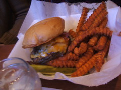 Burger with colby and Swiss