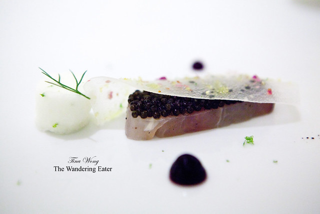 Revealing the Osetra caviar underneath the daikon sheet (5th Course: Madai)