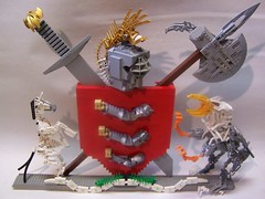 Lego Coat of Arms (monsterbrick) Tags: family heraldry coatofarms lego battle crest armor sword axe shield armstrong moc greatinventions
