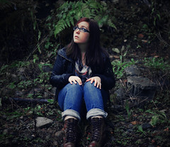 The Graveyard Near the House I (amanda.genevieve) Tags: portrait plants selfportrait nature girl scarf outside sitting boots song jeans leatherjacket