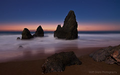 Rodeo Tranquility (Matt Granz Photography) Tags: ocean california blue sunset seascape motion blur beach wall paper stars photography evening twilight sand nikon rocks long exposure waves post pacific desk dusk top marin picture tokina card headlands rodeo 1224mm stacks sfist d90 mattgranz