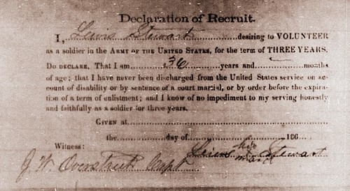 Lewis Stewart Civil War Enlistment Declaration