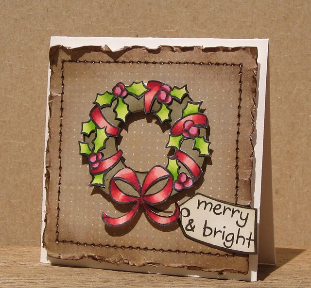 Bows and Holly Wreath