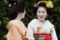 Maiko and Geiko (Teruhide Tomori) Tags: festival japan kyoto maiko geiko   kimono teaceremony teaparty    kamishichiken  colorphotoaward   blinkagain
