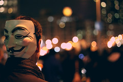 (voldy92) Tags: street city nyc newyork wall 50mm lights mask anonymous ows occupy occupywallstreet