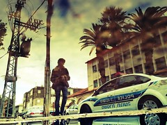 Street Police (Gilad Benari) Tags: street reflection art car print poster puddle israel different surreal police  4s zichron gilad yaakov iphone      benari  instogram