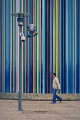 (__yaya__) Tags: blue urban paris france colors modern stripes colored palo defense lightpole luce personwalking