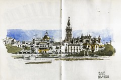Sevilla, view from Triana (Luis_Ruiz) Tags: plaza urban panorama skyline de sketch sevilla spain view cathedral drawing gothic catedral panoramic seville andalucia toros andalusia dibujo giralda sketchers maestranza