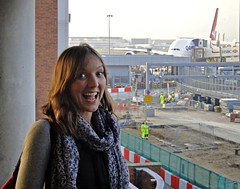 London Heathrow - Mar 2012 - Daughter Pleased To Be Home (gareth1953 Cataract Creating Chaos) Tags: smiling scarf bigeyes daughter qantas terminal3 constructionsite heathrowairport tanned airbusa380 longbrownhair sonydsctx5