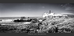 farol no Guincho (MB*photo) Tags: panorama white black beach rocks noir waves contraste guincho plage blanc phare cascais panoramique lighthouseportugal wwwifmbch marcbaertsch