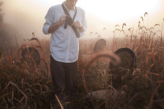 The Only One (Rob Woodcox) Tags: morning light red selfportrait nature beauty field fog sunrise chair focus natural meadow tie ready wonderland 52weekproject teleidescope robwoodcox robwoodcoxphotography