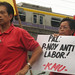 KMU Vice Chairperson Lito Ustarez in protest action against PAL outsourcing