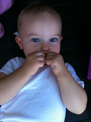 Look into my eyes, young man, look into my eyes (Wayan Vota) Tags: blue baby girl beautiful eyes infant child crystal daughter piercing clear moblogging haunting wayan