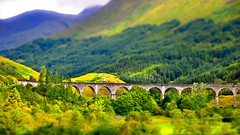 Glenfinnan Viaduct, tilt shift (mendhak) Tags: trees train photoshop geotagged toys scotland saturated fake harrypotter viaduct cropped glenfinnan lightroom tiltshift miniaturized mendhakwebsite geo:lat=5686734304 geo:lon=543338299