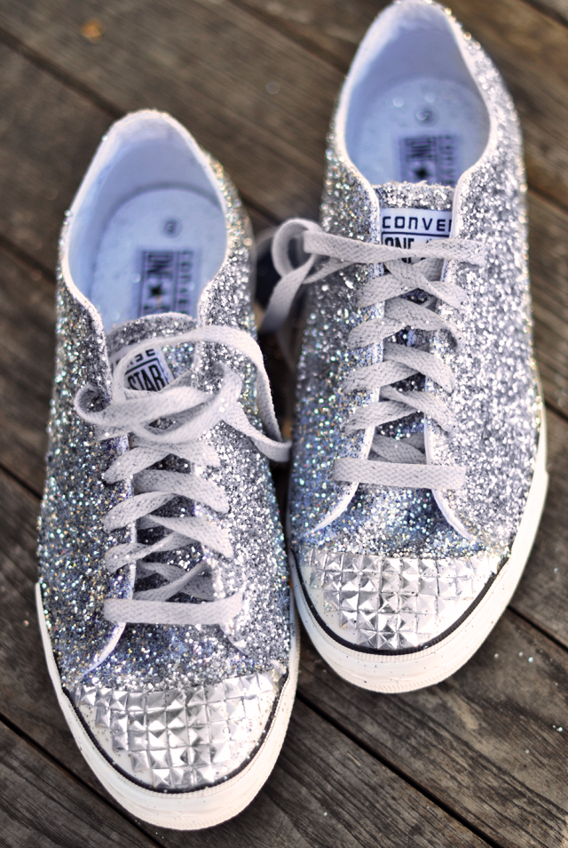 Glitter Sneaker DIY  with studded toe