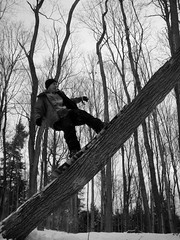 Tree Ride (JeremyHudson 802) Tags: blackandwhite forest vermont snowboard backcountry jib vt logride btv shred treeride