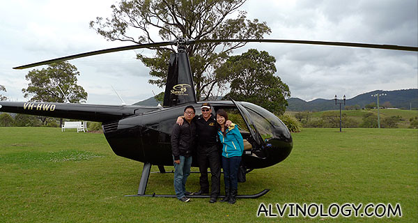 Eunice and I with our helicopter pilot