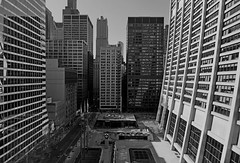 (Kevin Dickert) Tags: city blackandwhite chicago building skyline architecture skyscraper downtown cityscape loop chase inlandsteel tiltshift willistower canon5dmarkii iamhydrogen kevindickert canontse17mmf4l