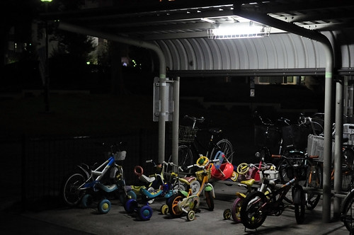 A midnight cycle parking area.