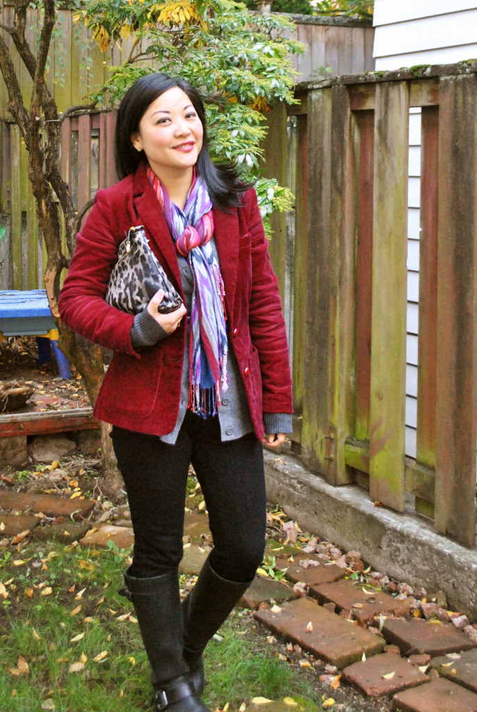 Fall Outfit - Burgundy Corduroy Blazer - Royal Blue Top - Gray Cardigan - Black Pants - Tall Aldo Boots - Ikat Scarf - Leopard Print Marc Jacobs Clutch