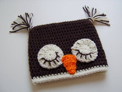 Crocheted Owl Hat, Made to Order