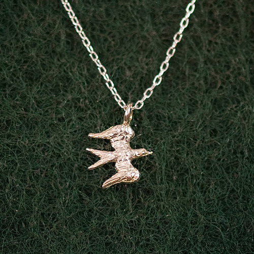 sterling silver bird charm necklace