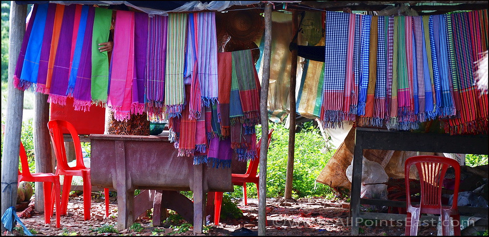 Colourful scarves at a Battambang stall, Cambodia