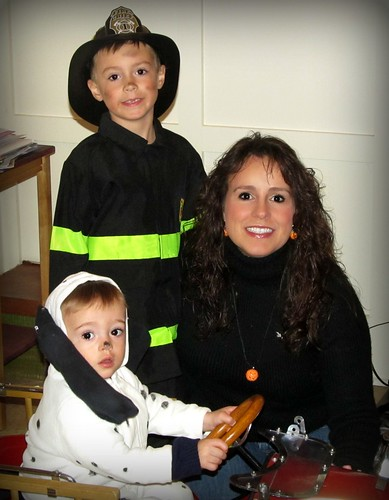 Mama and her firefighter and dalmatian