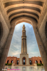 Sultan Qaboos Grand Mosque - Muscat . . . (Beauty Eye) Tags: lighting longexposure light sun reflection green beautiful rock stone wall clouds canon painting lens lights iso100 nice rocks walk minaret tripod middleeast mosque sharp tropical sultan rays said f80 length tamron oman shinny muscat hdr t3i 1024      blendedexposures 600d      60seconds f110 f160    beautyeye  flickraward     imazing