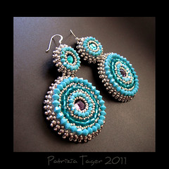 Around & Around - Turquoise Earrings (Triz Designs) Tags: silver purple handmade turquoise teal circles round earrings beading beaded beadwork swarovskicrystals beadembroidery