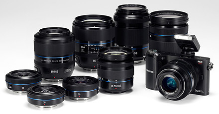 Samsung NX200 with the i-Function lens system.
