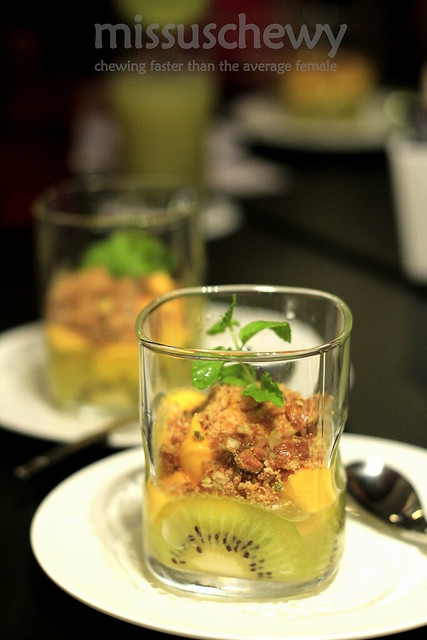 Kiwi trifle + saffron mousse