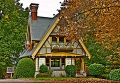 Falling forward (misterladybug) Tags: autumn house fall home oregon canon season portland fun woodwork artistic creative portlandia residence craftsman hdr dwelling misterladybug flickrstruereflection1