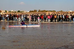 welcoming the water to Zayandehrood (my mailo) Tags: water kiana iran return esfahan isfahan mailo zayanderood