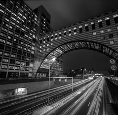 Traffic Jam! (NielsKristianPhotography) Tags: longexposure nightphotography bridge light urban holland cars dutch architecture photoshop buildings movement highway cityscape streetlights tripod nederland thenetherlands tunnel denhaag freeway expressway citycenter urbanism canoneos trafficjam thehague hdr a12 offices manfrotto beltway lightstreams snelweg zuidholland sigma1020mm 500d urbanity southholland rijksweg ringweg urbanist utrechtsebaan stadscentrum haagsehout rebelt1i nielskristianphotography