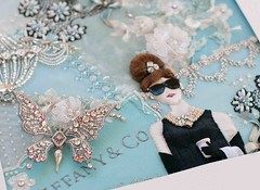 Breakfast at Tiffany's:  Three Dimensions (Plays With Needles) Tags: tiara glitter diamonds butterfly audreyhepburn needlework lace embroidery sparkle chandelier jewels embroidered bows beading chantilly tiffanyblue beadwork breakfastattiffanys trumancapote stumpwork