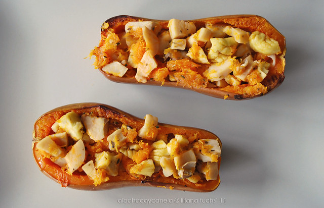 Roasted squash with boletus and chestnuts