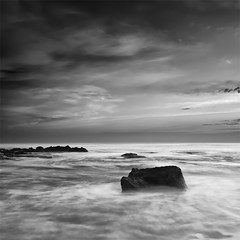 In the Middle of the Sea (DavidFrutos) Tags: longexposure sea bw costa seascape beach water monochrome rock clouds sunrise square landscape monocromo coast mar interestingness agua rocks playa paisaje bn explore alicante amanecer filter le lee nubes canondslr roca rocas 1x1 torrevieja f