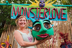 Sara Hasslinger of Monsterlove (Viajante) Tags: woman art austin us artist texas unitedstates mask eastaustinstudiotour east2011