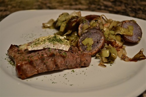 farmer's market dinner: rowe farms steak, local brie, and roasted leeks & purple potatoes