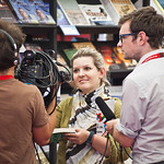 The Guardian blog team recording in the bookshop