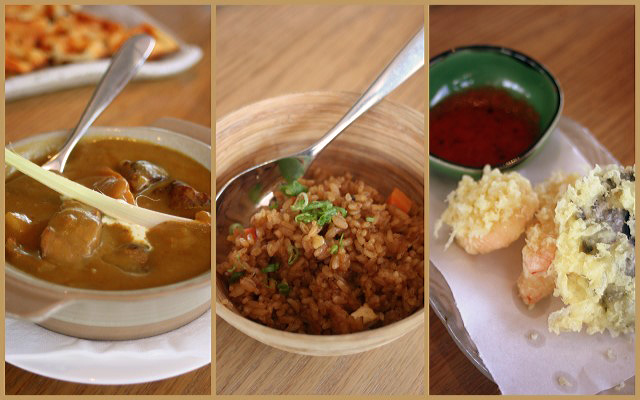 Japanese influenced dishes: braised australian black angus beef in house-blend curry; 'forty flavor' fried rice, and assorted vegetable tempura
