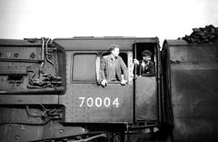 Carlisle Kingmoor. (Kingfisher 24) Tags: england cab oldschool fireman williamshakespear halina35x 70004 carlislekingmoor britanniapacific