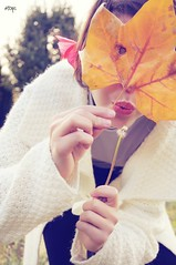"""From my personal project """"Self Portraits In Autumn"""" (_Hops_) Tags: autumn white girl vintage leaf model soft selfportraits blow autoritratto foglia autunno"""