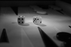 Your roll (Thomas Grooms) Tags: shadow blackandwhite bw dice game backgammon yabbadabbadoo