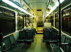 Long lonely ride home. (dougblackport) Tags: bus night ride busstop saturdaynight transit late rider ridership regularrider