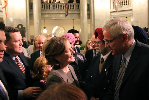 Premier Alison Redford following her swearing-in ceremony on October 7, 2011.