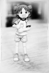 Yotsuba & Black n White (Liberty Photos) Tags: blackandwhite bw girl smile smiling japan toy toys actionfigure happy japanese comic child manga figure kaiyodo yotsubato yotsuba toyphotography revoltech よつばと yotsubakoiwai fractalius yotsubasummervacation