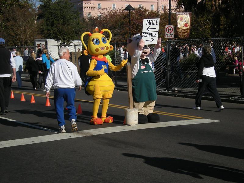 Mascots at the Finish