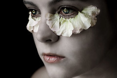 Petal (Lou Bert) Tags: flowers portrait white eye art girl face make up self paint makeup pale petal